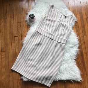 LOFT Striped Sheath Dress Tan & White SZ 4